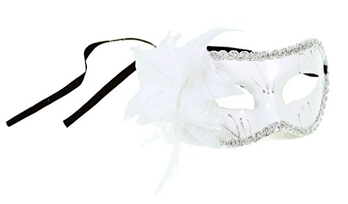 EPYA Women Venetian Fancy Dress Feather Floral Cosplay Costume Mask White Flower (Celebrity Couples Halloween Costumes)