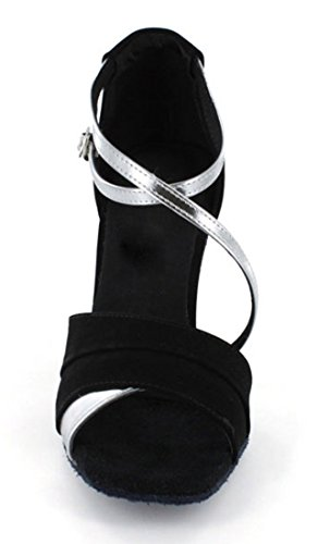 Strap Salsa Dance Peep TDA Wedding Modern Women's Ballroom Silver Ankle Latin Shoes 5cm 7 Toe Synthetic Black Tango 1qUUngxwA