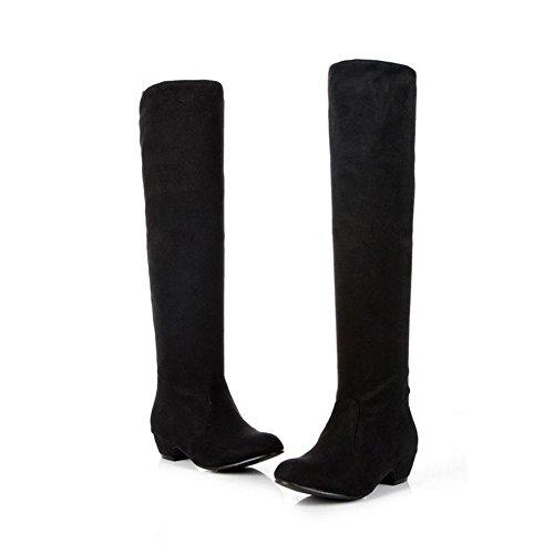 antideslizante goma de rodilla mujeres envuelto H de rojo desgaste largas estiramiento Negro bajo talón XIAOGANG inferior HCuatro resistente temporadas 37 Marrón gamuza black tela botas al agzTnq