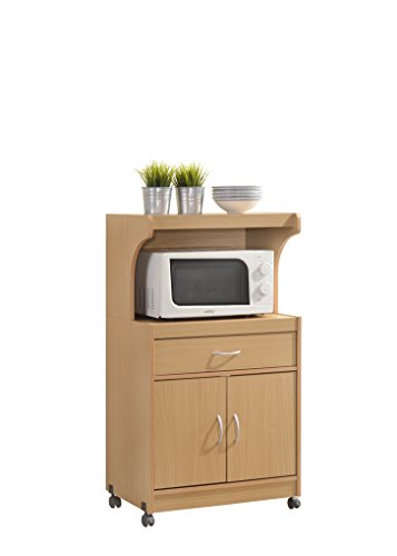 rt with One Drawer, Two Doors, and Shelf for Storage, Beech (2 Drawer Kitchen Cart)