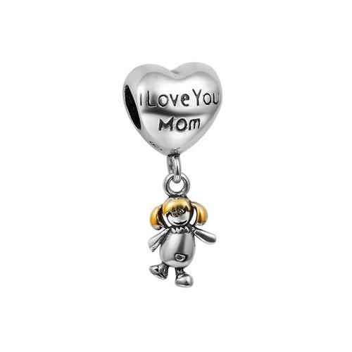 Fall New Arrivali Love You Mom Cute Girl Dangle Charm 925 Sterling Silver Pandora Compatible