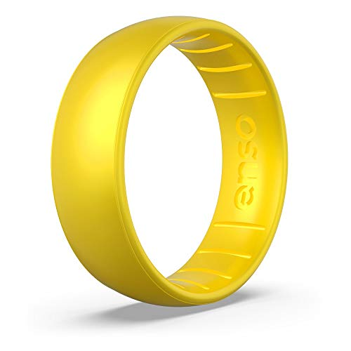 Enso Rings Classic Birthstone Silicone Ring | Made in The USA | Lifetime Quality Guarantee | Comfortable, Breathable, and Safe (Yellow Topaz, 8) ()