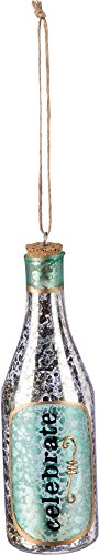Ornament - Glass Champagne Bottle, Set of 3 - Champagne Bottle Ornament