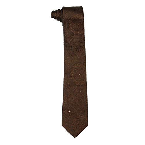 Sean John Mens Silk Medallion Pattern Neck Tie Brown O/S