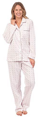 Patricia Women's Cozy Fleece Long Sleeve Button Up Lounge Pajama Set (Pink Dots Button-Up, X-Large)