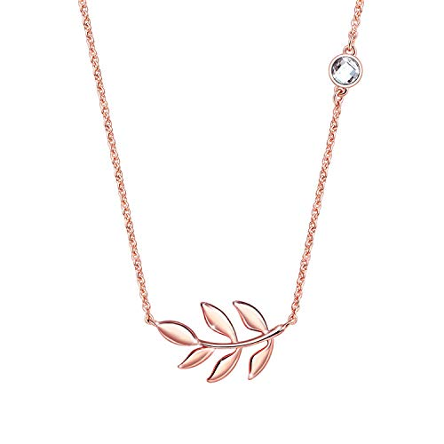 KISSPAT Rose Gold Olive Leaf Pendant Necklace Leaf Charm Jewelry for Women(Rose Gold) 5/8' No Leaf Pendant