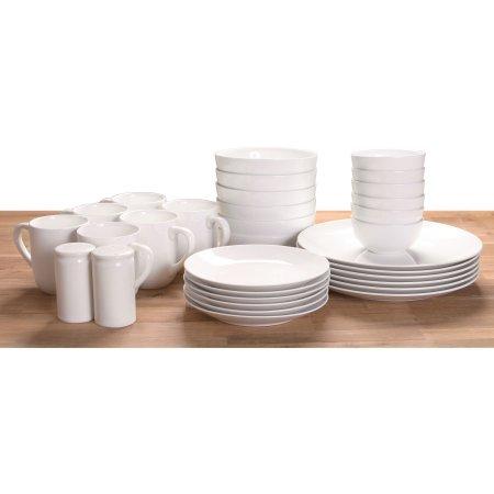 Made of Stoneware 32-Piece Dinnerware Set, White (White Stoneware Dishes)