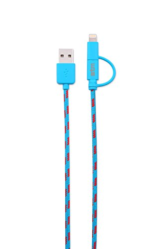 STM Elite Cable, Braided 2-in-1 Lightning & Micro USB Cable (1m) - Blue (stm-931-096Z-20)