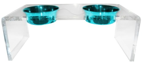 Platinum Pets 5 Star Modern Solid Acrylic Dog Feeder with 2 Extra Heavy 1-Pint Teal Bowls by Platinum Pets