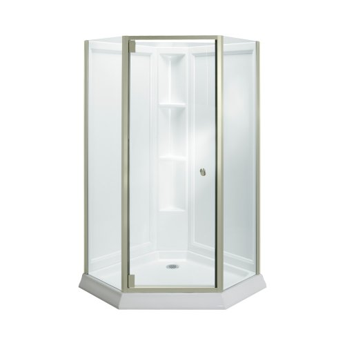 Neo Angle Shower Enclosure (Sterling Plumbing 2375-42N-G05 Solitaire Neo Angle Shower Kit Nickel, White with Nickel Frame/Clear Glass)