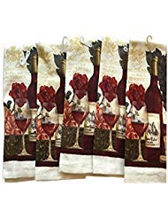 Wine Lovers Themed Kitchen Towels Towel Pack of 5 -