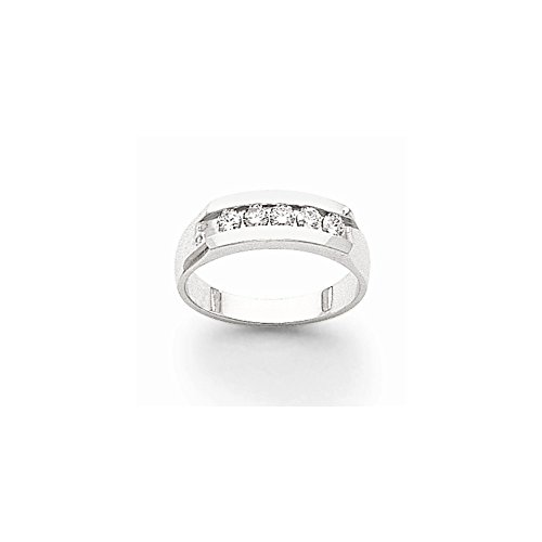 14k White Gold Aa Diamond Men's Channel Band, Best Quality Free Gift Box