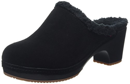 crocs Women's Sarah Lined Clog Mule, Black, 9 M US (Clogs Leather Black Heels)