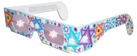 Pack of 5 - Holographic Glasses: See a STAR of DAVID at Every Bright Point of Light