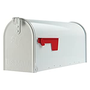 Gibraltar Mailboxes Elite Medium Capacity Galvanized Steel White, Post-Mount Mailbox, E1100W00
