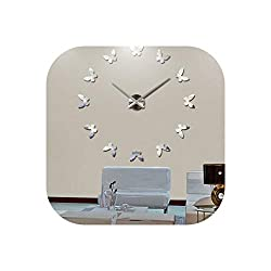 Wall Clock 2019 Wall Clock Modern Design Europe Acrylic Mirror 3D Quartz Watch Home Decor Stickers Living Room,Silver