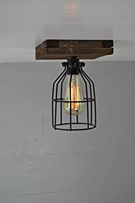 West Ninth Vintage Flushed Mount Wood Single Ceiling Farmhouse Fixture | w/Metal Cage Lights