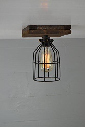 West Ninth Vintage Flushed Mount Wood Single Ceiling Farmhouse Fixture | w/ Metal Cage Lights (Single socket)