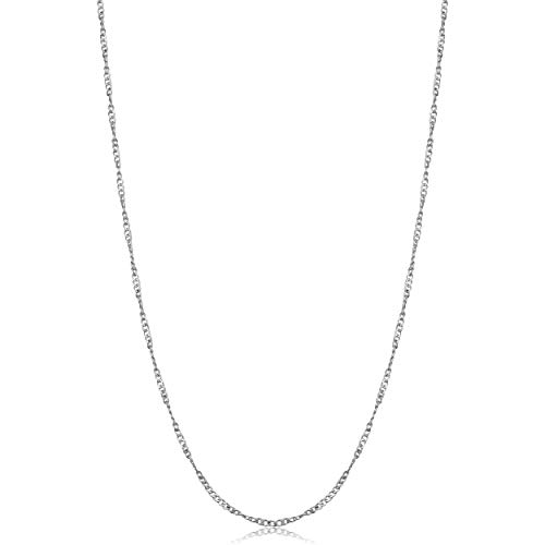 Double Heart Tag Necklace - Kooljewelry Sterling Silver Twisted Curb Chain Necklace (1 mm, 30 inch)