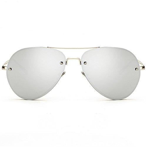 Oversized Aviator Sunglasses Vintage Retro Gold Metal Frame Colorful Lenses 62mm (Polarized Lenses Silver, 62)