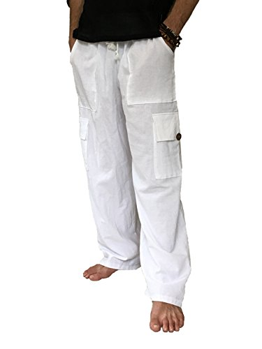 Men's 100% Cotton Cargo Pants One Size Baggy Pants Drawstring Elastic Waist (White)