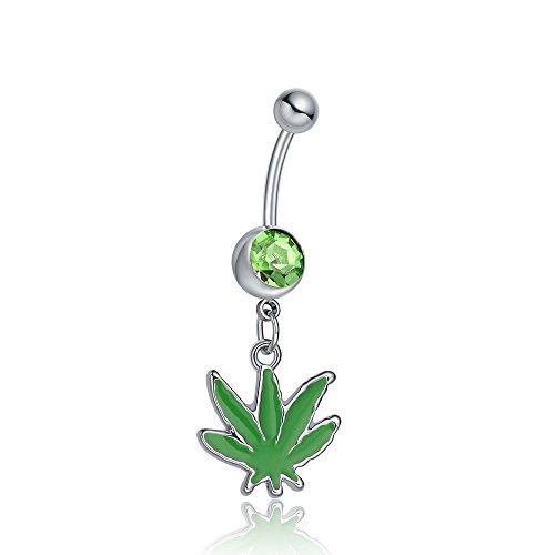 Gloria Trend 316L Surgical Steel Green Gem Pot Marijuana Leaf Dangle Navel Belly Button Barbell Ring