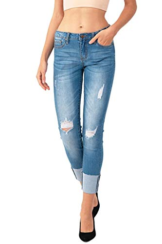 Women's Junior Distressed Cuff Cropped Skinny Denim Jeans Blue 104 Size 11 ()