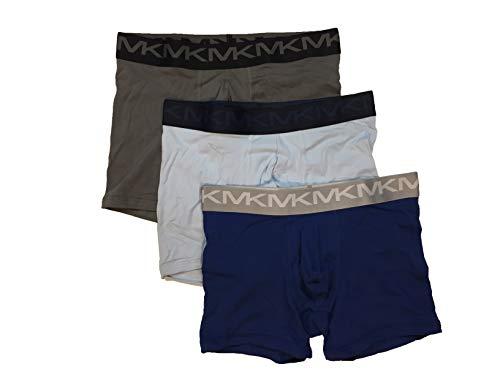 Michael Kors Men`s Stretch Factor Performance Cotton Boxer Briefs 3 Pack (Olive(9S91X10453)/Blue, Large) (Michael Kors Online Shop De)