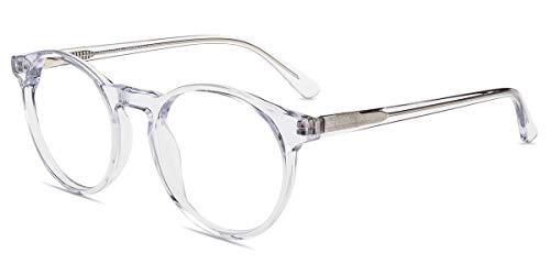 Firmoo Blue Light Blocking Glasses Women Clear Frame Computer Glasses Non Prescription UV400 Glare Protection Lightweight Round Eyewear Frame Nerd Eyeglasses for Men