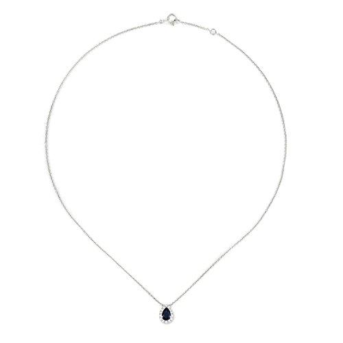 Tousmesbijoux Collier poire en Or blanc 375 diamants et saphir