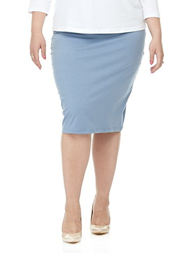 Esteez Womens Plus Size Skirt Cotton Spandex Knee Length Dallas Baby Blue 2X