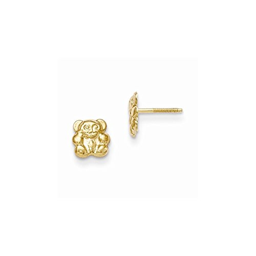 14k Yellow Gold Madi K Teddy Bear Screwback (14k Gold Fashion Bear)