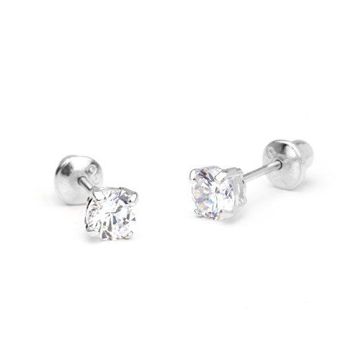 Sterling Silver Rhodium Plated 4mm Cubic Zirconia Stud Screwback Baby Girls Earrings