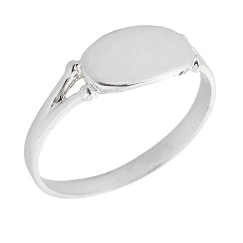 Engraved Signet Ring (Women's 10k White Gold Signet Ring (Size 4))