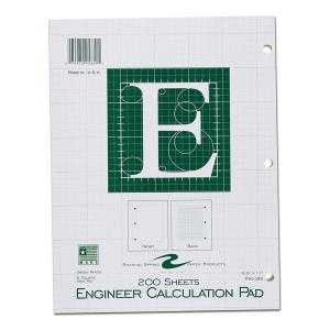 Bulk Engineering Pads, 5x5 Grid, 8.5''x11'', Green Paper, 200 Sheets: Roaring Spring 95389 (24 Engineering Graph Pads)