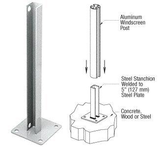 Metallic Silver AWS Steel Stanchion for 90 Degree Rectangular Corner Posts