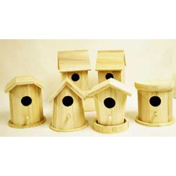 Bulk Buy: Darice DIY Crafts Wood Birdhouse Finch Promo Assortment 5-7 inches each (6-Pack) 9180-10