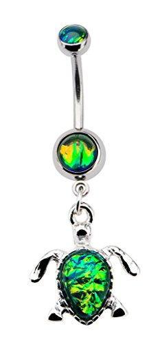 Green Glitter Fire Opal Turtle tortouise dangle Belly button navel Ring 14g