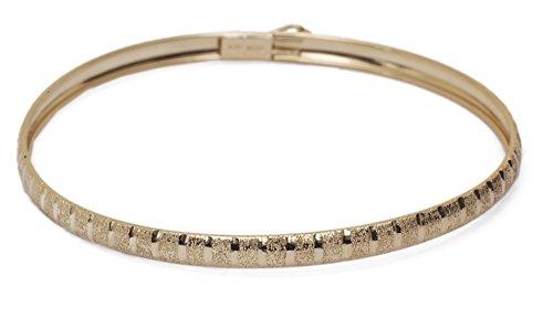 8 Inch 10k Yellow Gold bangle bracelet Flexible Round with Diamond Cut Design - Cut Gold Design Bracelet Diamond
