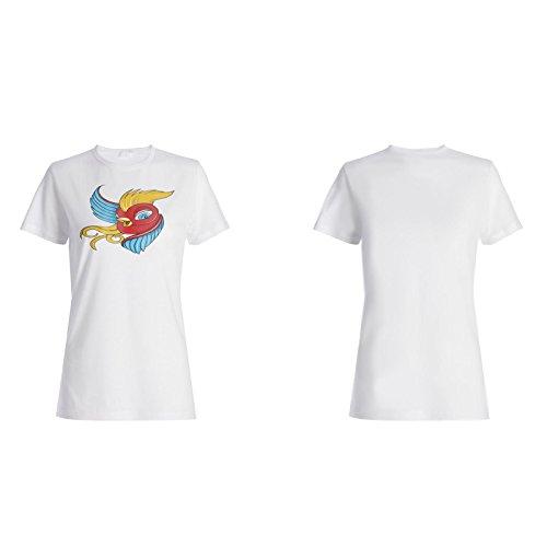 Arte Hermoso Retro Del Pájaro camiseta de las mujeres o182f
