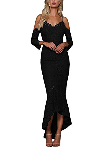 ROSKIKI Womens Elegant Spaghetti Straps Open Back Lace Bodycon Wedding Cocktail Dresses Ladies V Neck Prom Gown Homecoming Dresses Black M