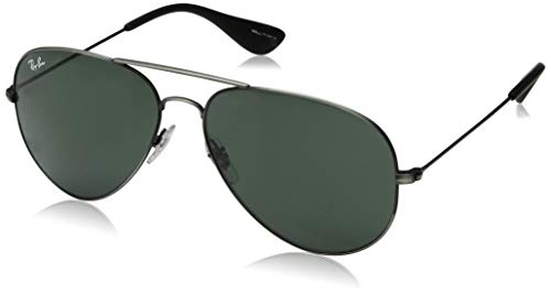 - Ray-Ban RB3558 Aviator Sunglasses, Matte Black Antique/Green, 58 mm