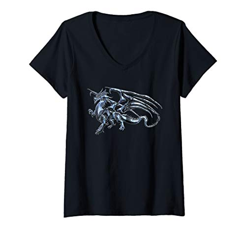 Womens Winged Dragon Tribal Tattoo Light Blue Silhouette Image V-Neck T-Shirt