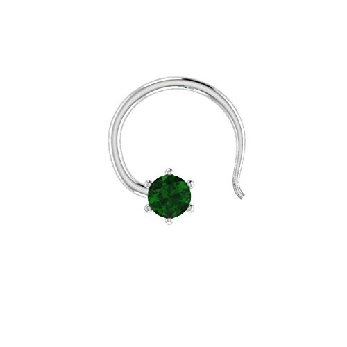 Round Shape 0.10 ct D/VVS1 Simulated diamond 925 Sterling Silver Stud Screw & Twist Wire nose - Emerald Oval Brooch