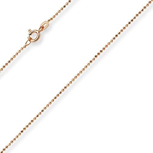 1mm Chaîne Boule diamanté Chaîne Or Collier en or rose 585, 45cm