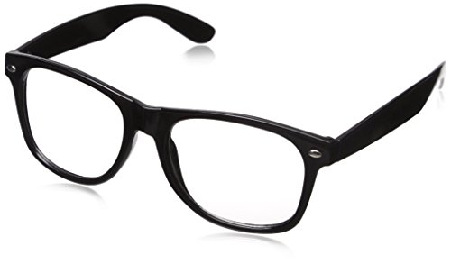 CLEAR LENS 80's Style Vintage Style Black Frame - Glasses Garth