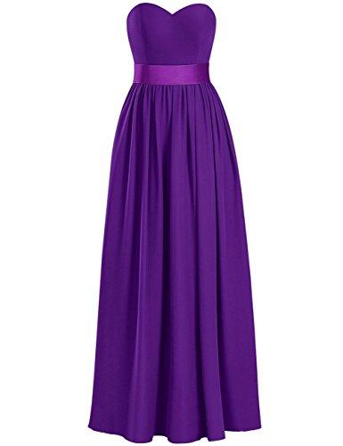 Purple Evening Size Dresses Sweetheart Side Gowns Dress Plus Prom Bridesmaid Long Chiffon Split 7B08nwOq