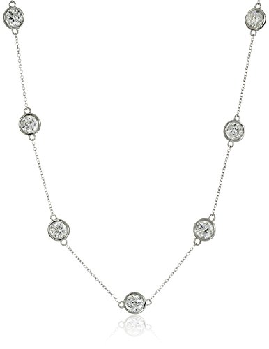 Platinum Plated Sterling Swarovski Zirconia Necklace