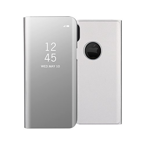 iPhone XS/X Mirror Case,Shinetop Slim Fit Electroplate Plating Smart Clear View Standing Case PC Flip Cover Full Body Shock Absorbent Protective Case for iPhone XS/iPhone X 5.8 with kickstand-Silver