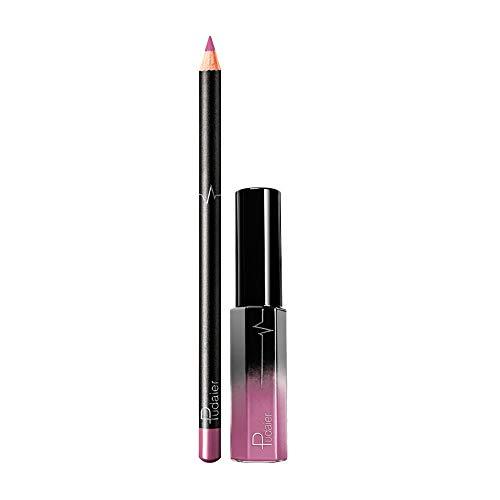 Lip Liner and Liquid Gloss Set,Matte Nude Colors Waterproof Long Lasting Makeup Lipstick Lip Liner Pencil for Women,25g(36 colors)(34#)